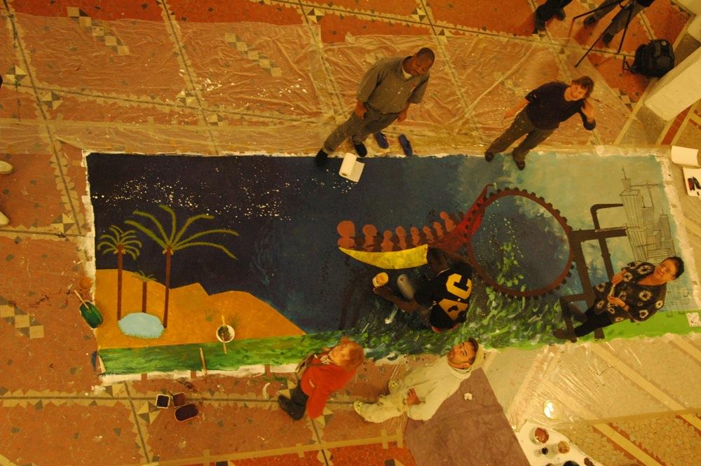 La peinture collective Tounkharaké en cours d'élaboration, novembre 2010. Photo : Georges Châtain